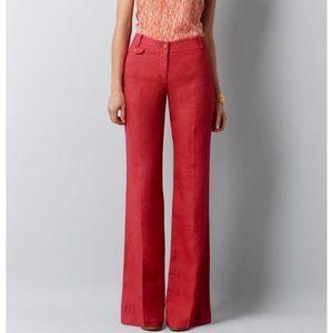 Loft Coral Linen Julie Wide Leg Trouser Pants 6